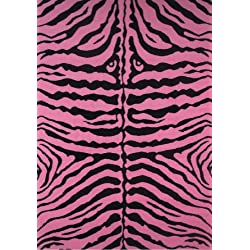 "Fun Time-NEW Kids Home Decorative Area Rug Nylon Zebra Skin-Pink -19"" X 29"""