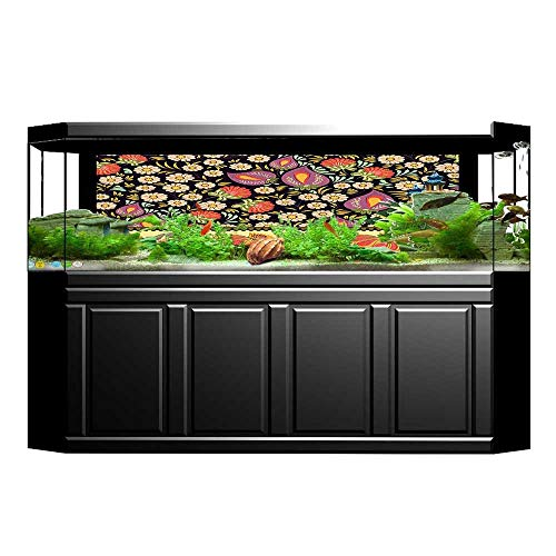 UHOO2018 Decorative Aquarium Decor Ukrainian Folk Motive with Vivid Flower Embroidery Fashion Baroque Print Multi Aquarium Sticker Wallpaper Decoration 29.5