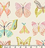 Wingspan Melon Winged WNG-1023 Bonnie Christine Art Gallery Fabric Green Flowers (Yard)