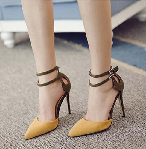 Work Pointed Shoes Onfly Heel Suede Pump Belt Shoes Scarpin Strap Women's Toe Buckle Ol Sandals Court Yellow Ankle Stiletto Charming High wwSaq