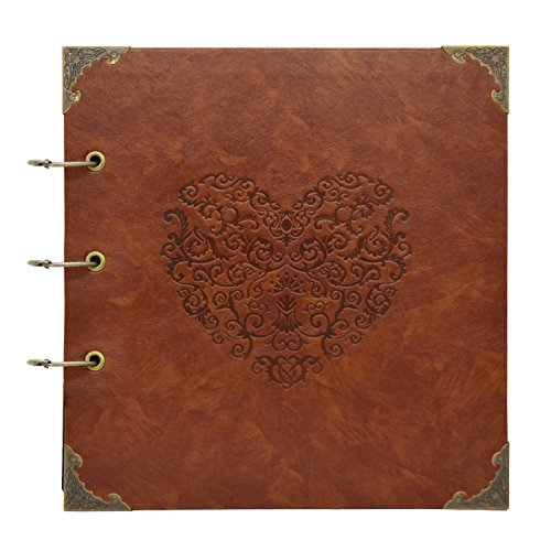 barsone Heart Scrapbook Album,Leather DIY Photo Album 50 Pages Retro Wedding Guest Book Family Memory Book Length 10.2 X Width 10 inches Holds 3X5, 4X6, 5X7, 6X8 Photos