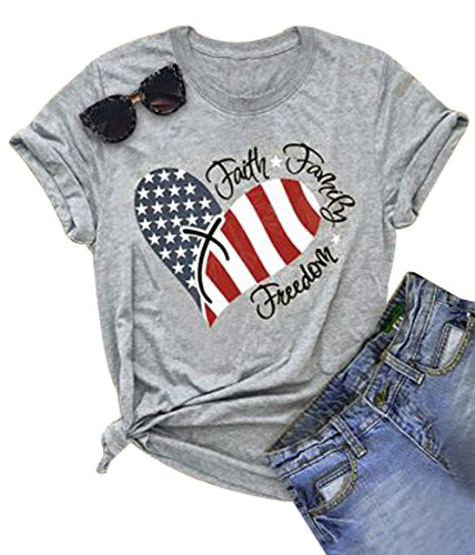 DUTUT Women's Patriot American Flag Printing T-Shirt USA in My Heart Casual Short Sleeve Tops Blouse