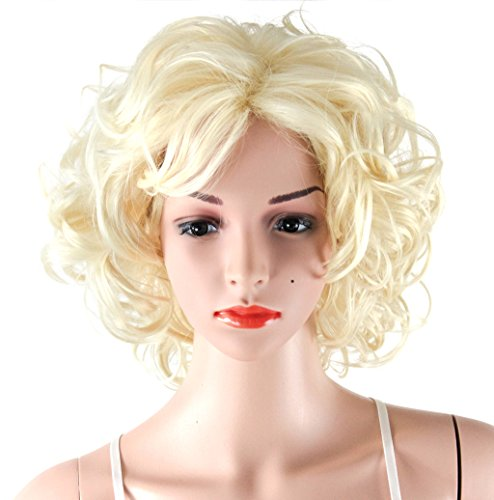 Blonde Curly Costumes Wig (WELLKAGE Short Blonde Curly Wavy Cosplay Marilyn Monroe Wigs ML001)