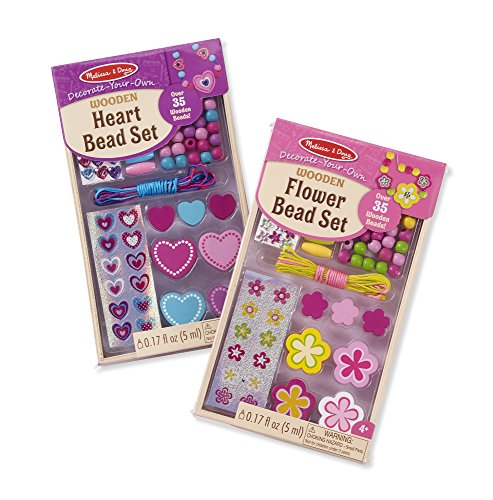 Flower And Bead Necklace (Melissa & Doug Decorate Your Own Wooden Bead Jewelry Making Kit Includes Hearts/Flowers (2 Pack))