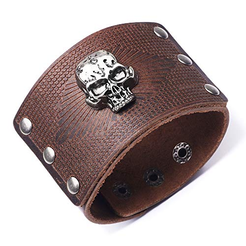 AZORA Punk Leather Bracelet Handmade Skull Cuff Bangle Braided Wristband Adjustable Bracelets for Men,Kids,Boys,Women