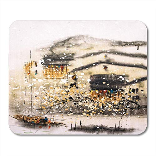 (Mouse Pads House Colorful Chinese Oil Painting Wuzhen China Canvas Watercolor Mouse Pad for Notebooks,Desktop Computers Mouse Mats, Office Supplies)
