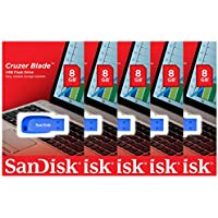 Lot of 5 SanDisk Cruzer Blade 8GB USB 2.0 Flash Drive Thumb Stick Blue SDCZ50C-008G-B35BE ( 5 Pack )