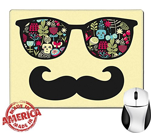 """Luxlady Natural Rubber Mouse Pad/Mat with Stitched Edges 9.8"""" x 7.9"""" IMAGE ID: 26795896 Retro sunglasses with reflection for hipster Vector illustration of accessory eyeglasses isolated Best print - Sunglasses Vector Free"""