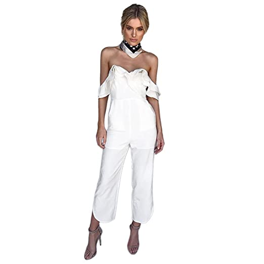 773f83375cfc Ghazzi Women Jumpsuits Sexy Backless Off Shoulder Romper Long Pants Overalls  Playsuit Beachwear Bodysuit (S