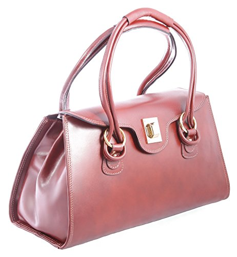 in Ctm Classic Italy Made Brown 100 donna 37x24x17cm Handbag da pelle vera qZwTqz