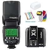 Godox TT685O 2.4G GN60 TTL Flash Speedlite Light High Speed Sync 1/8000s & X1T-O Wireless Flash Trigger Transmitter Compatible for Olympus Panasonic Camera& Diffuser & Filter &USB LED
