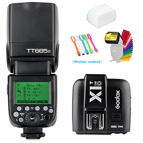 Godox TT685O 2.4G GN60 TTL Flash Speedlite Light High Speed Sync 1/8000s & X1T-O Wireless Flash Trigger Transmitter Compatible for Olympus Panasonic Camera& Diffuser & Filter &USB LED