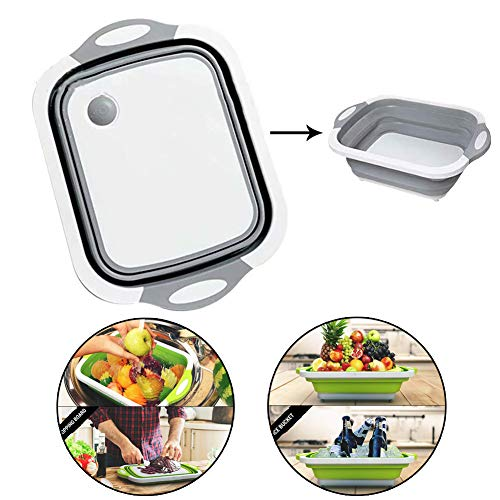 (Multifunction Over The-Sink Cutting Board Collapsible Cutting Board with Dish Tub Foldable Dish Tub - Portable Washing Basin 3 In 1 Food Grade Plastic Chopping Board for Cut Vegetable, Drain Food Tray)