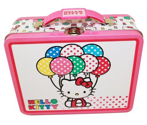 Hello Kitty Embossed Tin Lunch Box - White w/ Polka Dot Balloons