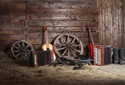 Leyiyi 10x8ft Rustic Music Barn Backdrop Vintage Guitar Rock Play Western Wooden Cottage Horseshoe Rural Farmhouse Haystack Photo Background Cowboy Kids Birthday Portrait Studio Prop Vinyl Banner