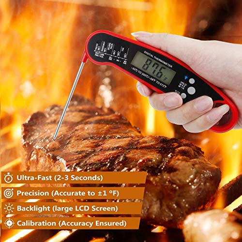 Meat Thermometer Instant Read, Food Thermometer with Calibration and Backlit, Ultra Fast Waterproof Cooking Thermometer, Digital Read Thermometer with Bottle Opener for Kitchen, Grill, BBQ, Candy