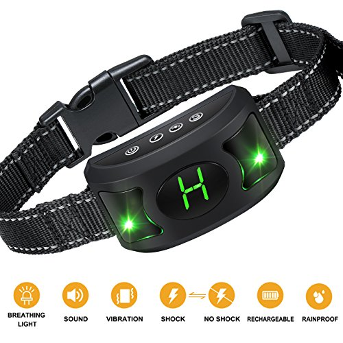 Allenker Dog Bark Collar - Rechargeable Anti bark Collar with Three Sensitivity Levels, Beep, Vibration & Harmless Shock, Humane No Bark Collar For Small Dog/Medium / Large Dog With Breathing Light by Allenker