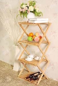 SoBuy Estantería, estantería plegable, estantería de madera, estante, rinconera FRG01 (natural)