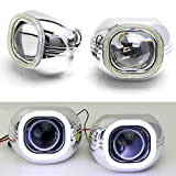 "iJDMTOY (2) 3.0"" H1 Bi-Xenon HID Projector Lens w/ Xenon White Square COB LED Halo Ring Shrouds For Headlight Retrofit, Custom Headlamps Conversion"