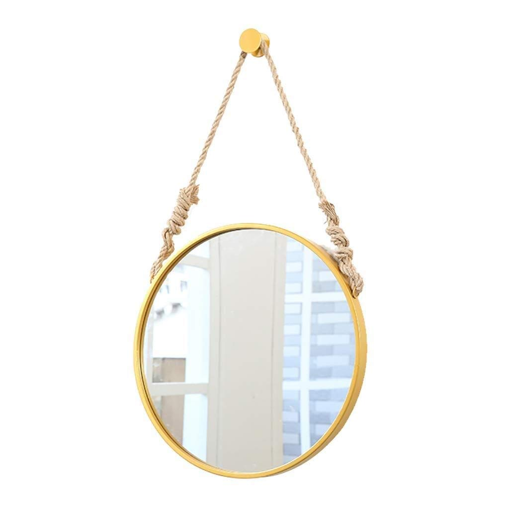 Beauty mirror Bathroom Mirror Wall Mounted Vanity Mirror Modern Round Iron Frame Makeup Mirrors with Linen Lanyard Wall Hanging Fixing Hardware Dressing mirror (Color : Gold, Size : Ø50CM) by Makeup Mirrors