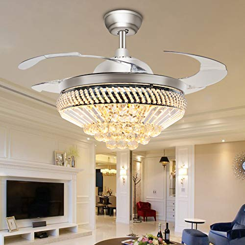 TiptonLight Ceiling Fan with 4 Plastic Folding Blades Irregular Shape with White Warm Nuetral Light Remote Control 42 Inch Ceiling Fan Light (42 inch, Silver(Q)) ()