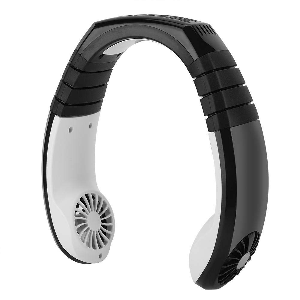 Focket Mini Air Cooler,Portable Double Wind Head Hands-free Neck Band Fan Adjustable Wind Speed Conditioning fan,Charging 1.8 Hours Last for 4-8 Hours for Traveling Outdoor Office Black