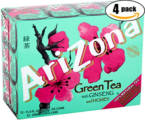 AriZona Green Tea With Ginseng And Honey - 12 PK, 11.5 OZ Can (Pack of 4, Total of 48 Cans) ()