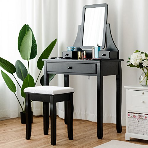 Giantex Vanity Set with Large Drawer and 2 Removable Dividers, Makeup Dressing Table with Rotated Mirror and Cushioned Stool, Modern Girls Women Makeup Table for Bedroom Bathroom Black