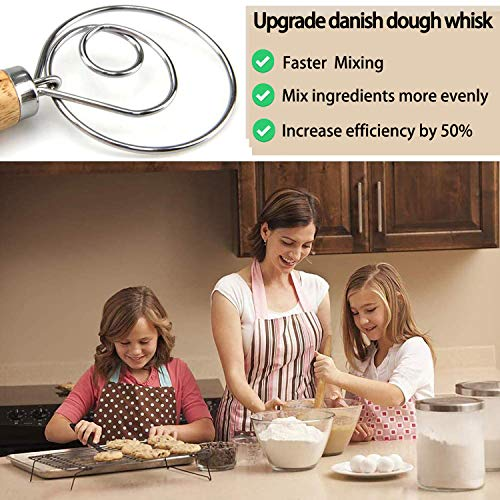Danish Dough Whisk, Dough Whisk Stainless Steel Dutch Style Bread Dough Hand Mixer Wooden Handle Kitchen Baking Tools Artisian Blende (1Whisk+1Bread Lamer)