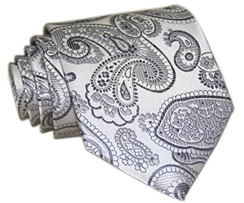 Secdtie Men's Classic Paisley Silver Gray Jacquard Woven Silk Tie Formal Necktie (Silk Paisley Tie)