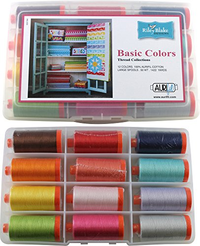 Riley Blake Designs Basic Colors Thread Kit 12 50wt Cotton Large (1422 yard) Spools Aurifil by Aurifil