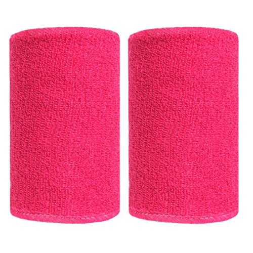 BBOLIVE 4' Inch Wrist Sweatband in 28 Different Neon Colors - Athletic Cotton Terry Cloth - Great for All Outdoor Activity(1 Pair) (Rose)