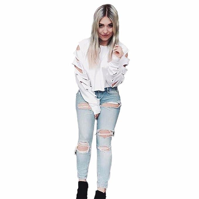 PANY❀ Mujer Sudaderas Cortas 2018 Mujer Suéter Corto de Manga Larga con Hueco Hueco Camisa