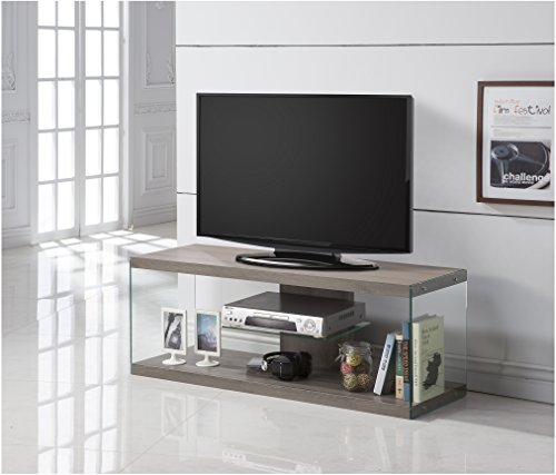 Dark Taupe Reclaimed-Look Glass TV Console Stand with Shelf by GloryBear