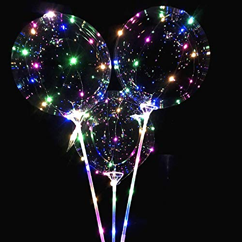 Party Balloons Light up Balloons for Halloween, Christmas, New Year - Shining Balloons with Holding Sticks [3 Packs] -