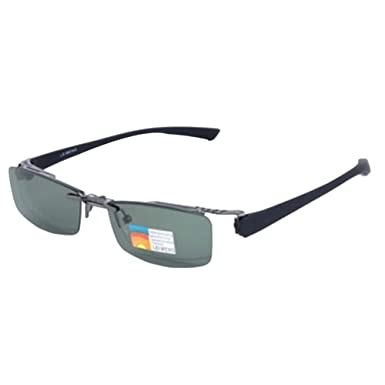 1fabf475a1 Image Unavailable. Image not available for. Color  Gray Magnetic Polarized  Clip on half rim Eyeglasses Frame Night Driving sunglasses Rx