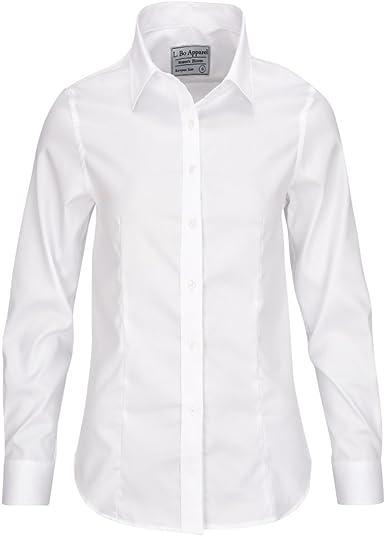 L. Bo Apparel, Neat: Camisa Blanca Elegante Mujer, 100% Algodón Blusa, Manga Larga, XS: Amazon.es: Ropa y accesorios