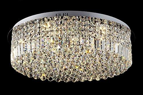 Siljoy Drum Crystal Chandelier Lighting Modern Ceiling Lights D23.6″ x H9″