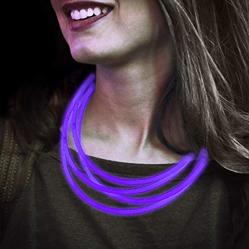 Lumistick Premium 22 Inch Glow Stick Necklaces with Connectors   Kid Safe Non-toxic Glowstick Necklaces Party Pack   Available in Bulk and Color Varieties   Lasts 12 hours (Purple, 50) ()