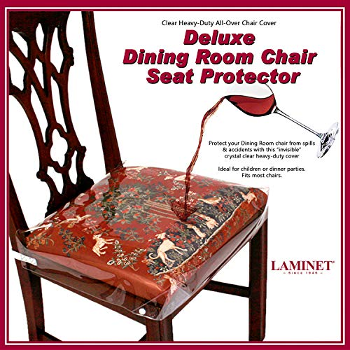 LAMINET New & Improved Deluxe Heavy-Duty Waterproof Spill Resistant Removable Crystal-Clear Plastic Adjustable Patented Chair Seat Protector - Fits Chair Seats Up to 21″ x 21″ - Set of 2