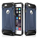 "iPhone 6 Plus Case,iPhone 6S Plus Case,Wollony Rugged Hybrid Dual Layer Armor Protective Back Case Shockproof Cover for iPhone 6/6S Plus 5.5""- Slim Fit - Heavy Duty - Impact Resistant Bumper (Deep Blue)"