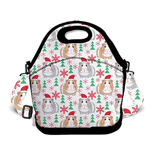 OKAYDECOR Christmas Guinea Pig Wallpaper Waterproof Neoprene Lunch Tote Bag/Box Neoprene Tote for Travel and Picnic School ()
