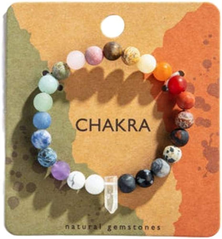 Rose Quartz and Rainbow Chakra stretchy bracelet