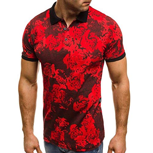 MOSERIAN Men's Top Summer New Camouflage Printed Short Sleeves Fashion Lapel Blouse Top ()