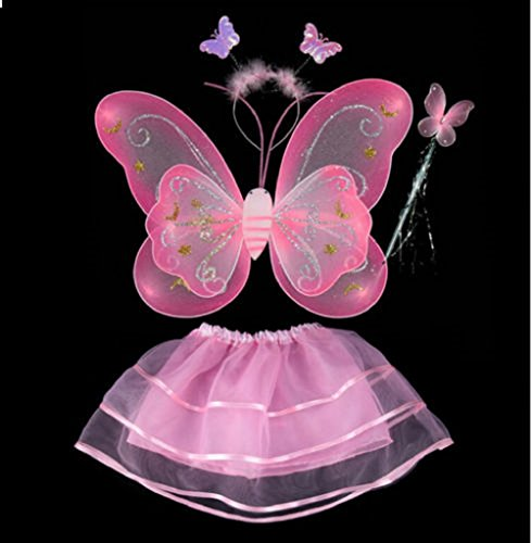 Butterfly Wings Fancy Dress (Fairy Butterfly Wing 4 Piece Set Costume Tutu Ballerina Dress up Dance skirt (Lt Pink))