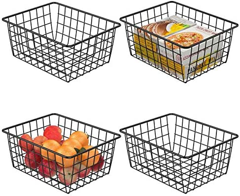 Wire Storage Basket, F-color 4 Pack Metal Household Storage Organizer Bin for Pantry, Shelf, Freezer, Kitchen Cabinet, Bathroom, Small, Black