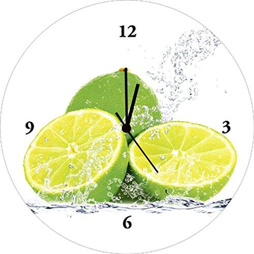Artland Qualitätsuhren I Funk Wanduhr Küche Designer Uhr Glas Funkuhr Küchenuhr Größe: 35 Ø Lebensmittel Obst Gelb J4IR