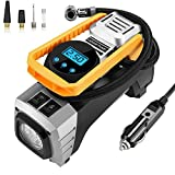 Ulikit Portable 12V DC Air Compressor Pump,Auto OFF 120W Tire Inflator W Emergency Led Light and 9 FT Cable for Car,Bicycle,Motorcycle,Basketball