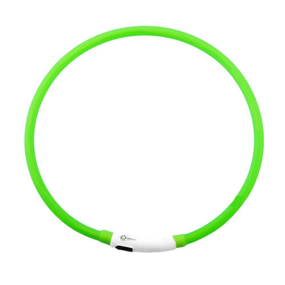 Perfect Home LED Luminous Dog Collar Green USB Rechargeable Waterproof Adjustable Flashing Light pet Safety Collar 1PCS Durable