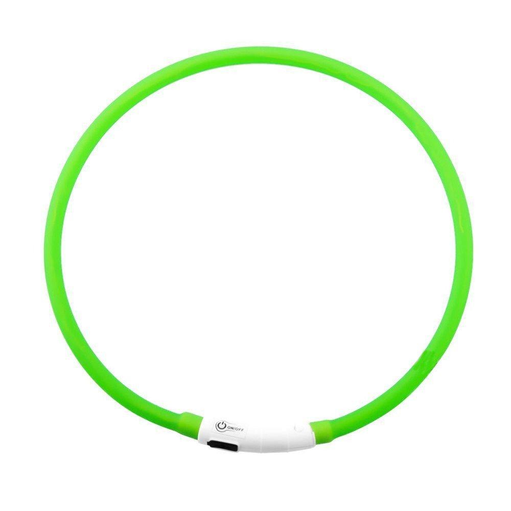 Yaojiaju USB Rechargeable LED Luminous Dog Collar Waterproof Adjustable Flashing Glowing Pet Safety Collar Green